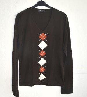 Dunkelbrauner Langarm Pullover 100% Baumwolle