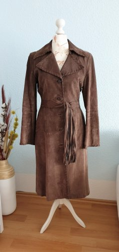 Abrigo de cuero marrón-marrón oscuro Cuero