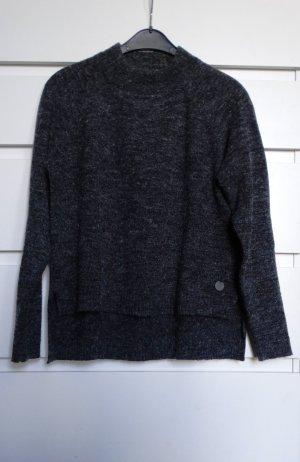 Dunkelgrau melierter Pullover S
