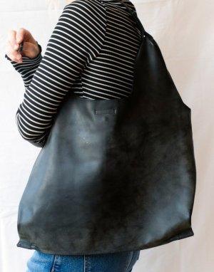 Dunkelgrau/Schwarze Kunstleder Umhänge Handtasche von Eternel