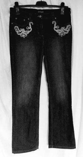 Apart Jeansy z prostymi nogawkami antracyt Bawełna