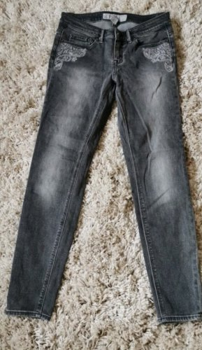 H&M Wortel jeans donkergrijs-lichtgrijs