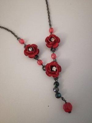 dunkelgraue Kette mit dunkelroten Rosen vintage