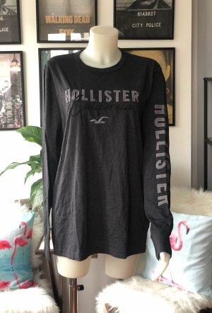 Dunkelgraues Hollister Longsleeve Shirt mit Logo am Arm L