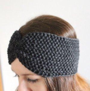 Dunkelgraues Stirnband aus Wolle