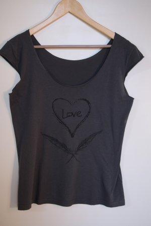 Dunkelgraues T-Shirt mit schwarzem Print