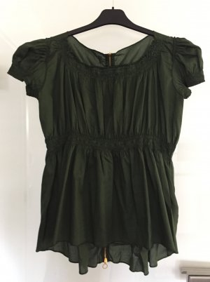 Dondup Short Sleeved Blouse forest green cotton