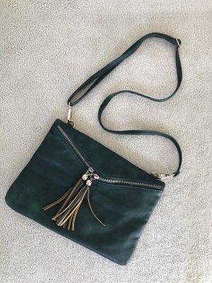 Dunkelgrüne Crossbody Tasche mit Quasten