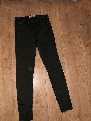 Zara Jeans taille basse vert foncé