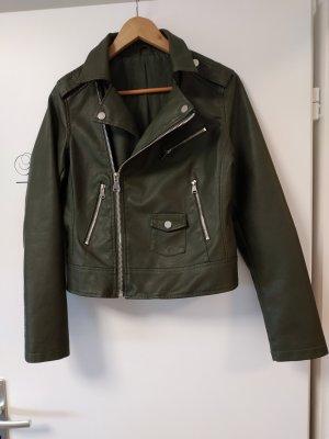 italienische Mode Faux Leather Jacket khaki