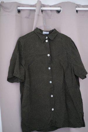 dunkelgrüne Kurzarm-Bluse