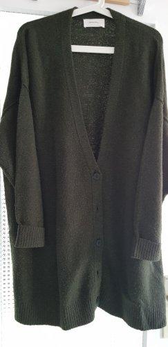 American Vintage Lang gebreid vest donkergroen