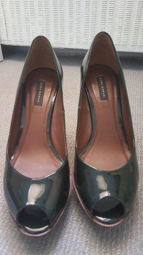 Zara Woman Peep Toe Pumps dark green mixture fibre