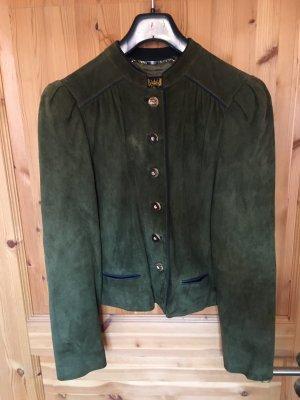 Traditional Jacket dark green-black brown leather