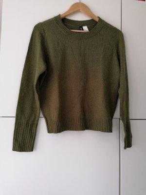 Dunkelgrüner Basic Pullover