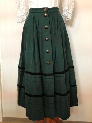 Chiemseer Dirndl & Tracht Traditional Skirt dark green-black cotton
