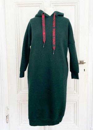 Dunkelgrüner Longpulli / Pullikleid / Longkleid / Sweaterkleid / Hoodiekleid / Longhoodie