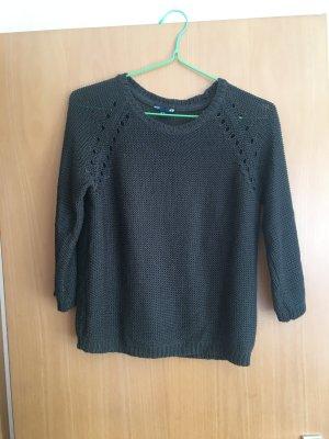 Dunkelgrüner Pullover mit 3/4 Ärmeln und Rundhalsausschnitt