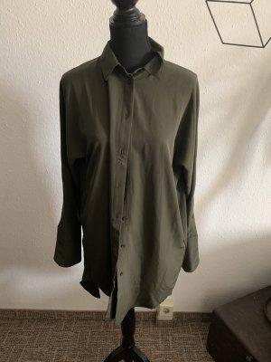 Amisu Vestido camisero gris verdoso