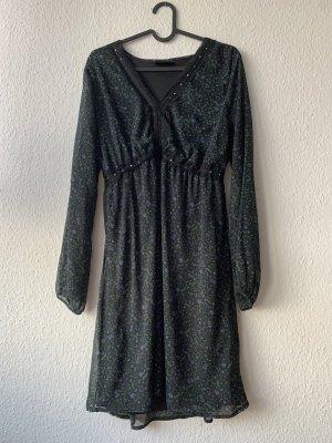 Dunkelgrünes langärmeliges Kleid Blümchenkleid Vintage 36