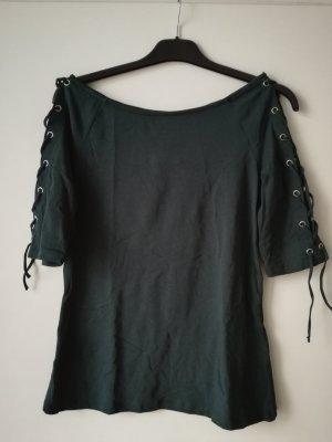 Dunkelgrünes T-Shirt mit Lace-Up-Ärmeln