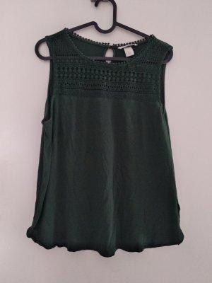 H&M Top di merletto verde scuro-verde bosco Viscosa