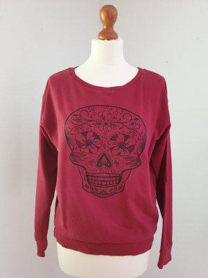 Dunkelroter Pullover mit Skull Print