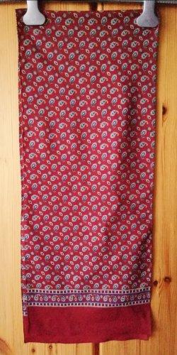 dunkelroter Schal mit Krawattenmuster in Dunkelblau, Grau, Weiß und Gelb