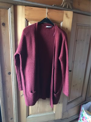 Bershka Knitted Cardigan brown red-bordeaux