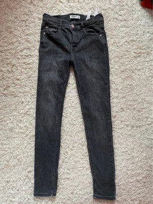 Pull & Bear Pantalon taille haute gris foncé