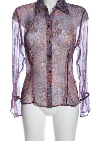 DUO Transparenz-Bluse lila-braun abstraktes Muster Elegant