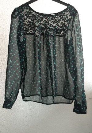 C&A Yessica Blouse transparente noir-vert menthe tissu mixte