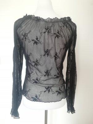 durchsichtige Bluse Shirt Spitzen Oberteil schwarz durchsichtiger Rücken Carmenbluse 38