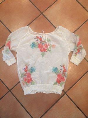 Durchsichtige Bluse weiß mit Blumenmuster