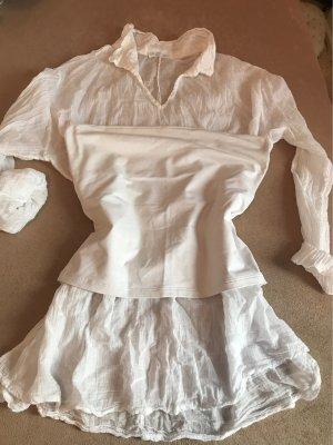 Durchsichtige Sexy Crash Bluse in dünner Baumwolle mut darunter blickdichtes Top ohne Träger