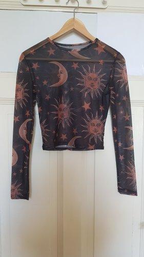 Amazone Jersey de cuello redondo negro-coñac Poliéster