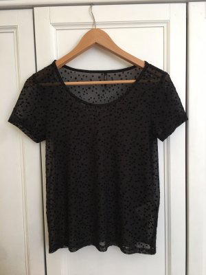 young fashion Top maillé noir viscose