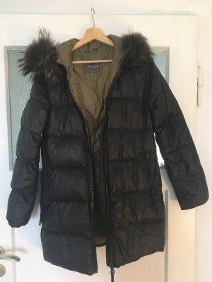 Duvetica Daunen Mantel Jacke schwarz Kapuze Fell Gr. 36