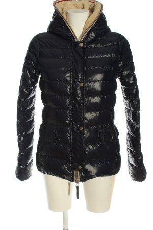 Duvetica Veste à capuche noir motif de courtepointe style décontracté