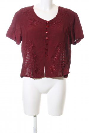DW-Shop Kurzarm-Bluse rot Blumenmuster Casual-Look