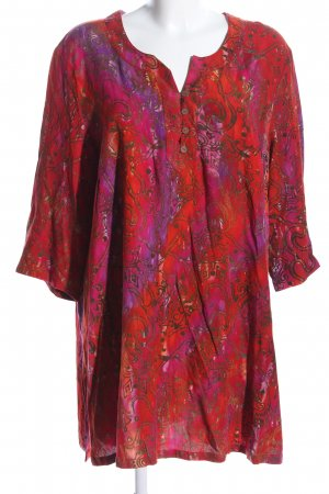 DW-Shop Tunikabluse rot-lila Allover-Druck Casual-Look