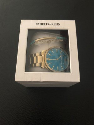Watch With Metal Strap pale blue-dark yellow metal