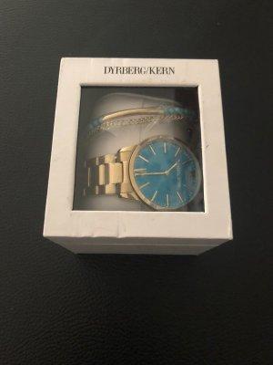 Zegarek z metalowym paskiem jasnoniebieski-ciemny żółty Metal