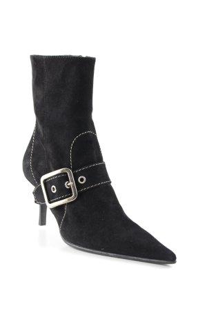 Dyva Reißverschluss-Stiefeletten schwarz-silberfarben Retro-Look