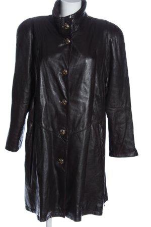 E.B. Company Manteau en cuir noir style décontracté