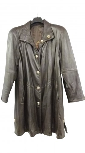 E.B. Company Leather Coat dark brown casual look