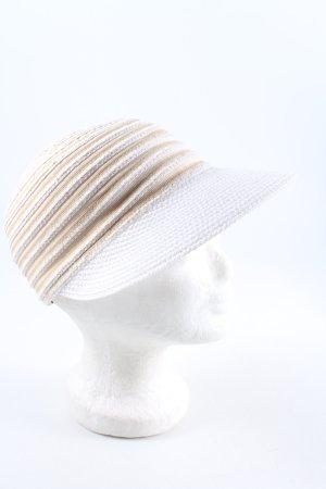 E.B. Company Cappello con visiera bianco-color carne motivo a righe stile casual