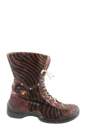 E,Ect Halfhoge laarzen bruin-zwart volledige print casual uitstraling