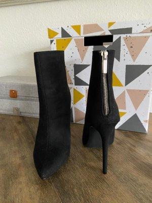 e High Heel Boots schwarz Wild leder Optik in 37