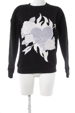 Each & Other Sweatshirt schwarz-weiß Schriftzug gestickt Street-Fashion-Look